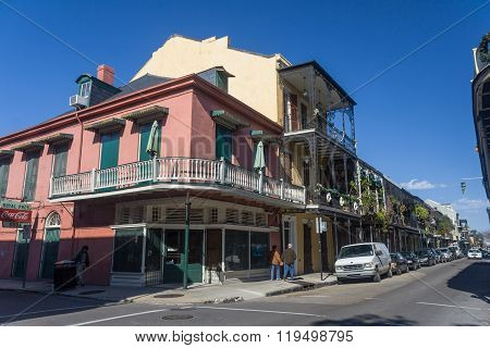 New Orleans, La/usa - Circa January 2008: Old Colonial House With Ironwork Galleries On The Streets
