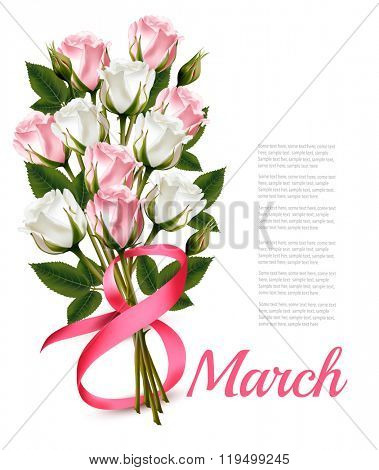 8th March illustration with bouquet of pink and white roses. International Women's Day. Vector.