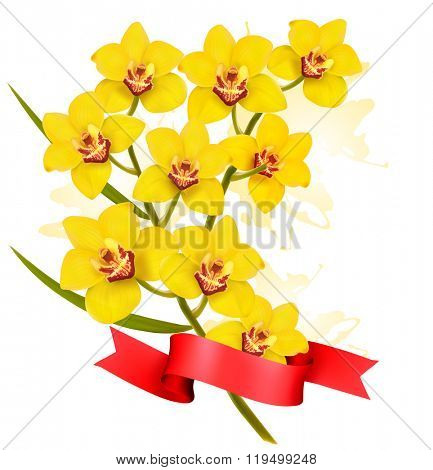 Holiday yellow flowers background with red ribbon. Vector.