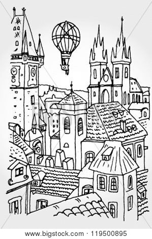 Prague City Hand Drawn