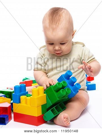 Little Boy With Building Bricks