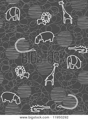 Seamless pattern showcasing cute little baby safari animals