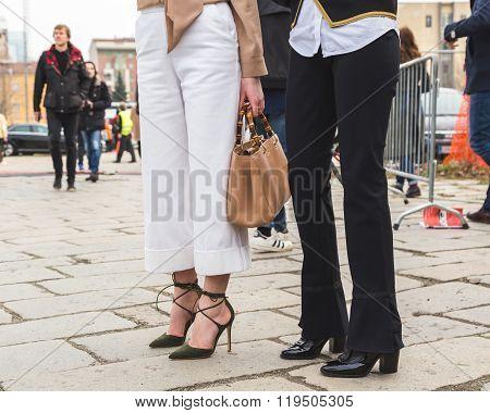 Detail Of Shoes Outside Gucci Fashion Show Building For Milan Women's Fashion Week 2016