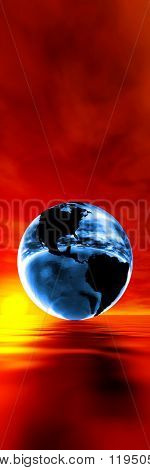 Global warming concept, blue earth against sunset
