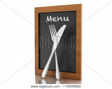 3D Menu Board With Fork And Knife.