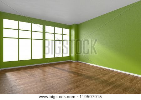 Empty Room With Parquet Floor, Green Textured Walls And Big Window