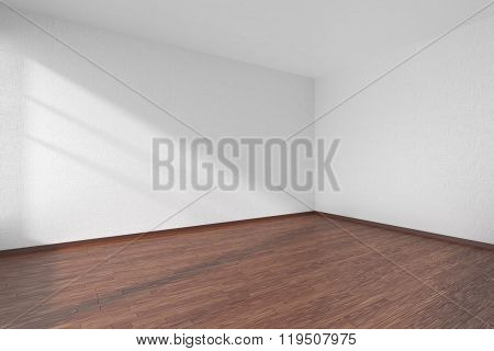 Empty Room With Dark Parquet Floor And Textured White Walls