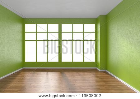 Empty Room With Parquet Floor, Textured Green Walls And Big Window