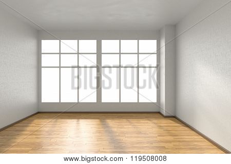Empty Room With Parquet Floor, White Textured Walls And Big Window