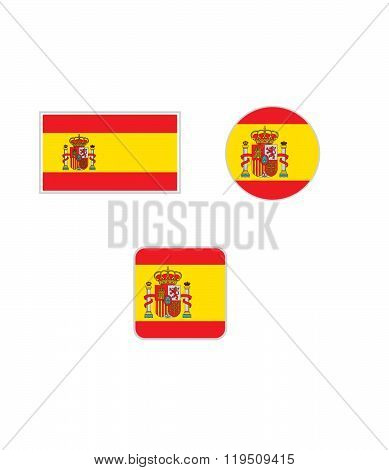 Vector Spanish flag set