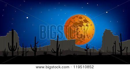 Desert with Saguaro Cactus against moon. Vector landscape.