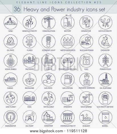 Vector heavy and power industry outline icon set. Elegant thin line style design.
