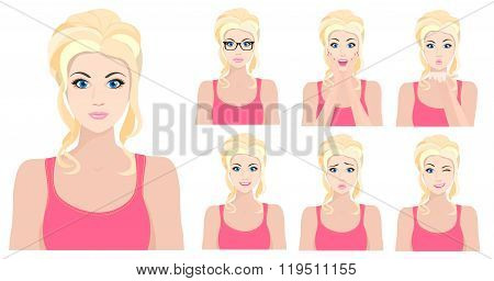 Beautiful blond model girl with different facial emotions and expressions set. Vector illustration.