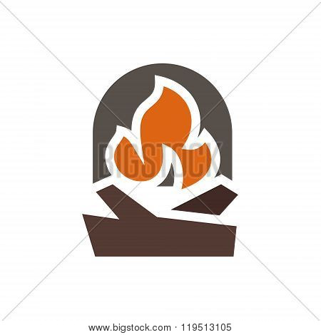 Fireplace abstract mark logo in minimalism