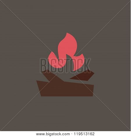 Fiery fire with wood in the camp Qualitatively vector logo for companies