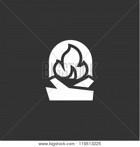 urning fireplace with wood in an open fire sign vector logo flat style illustrations