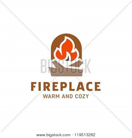 fire in the fireplace with firewood logo illustration flat minimalist trend