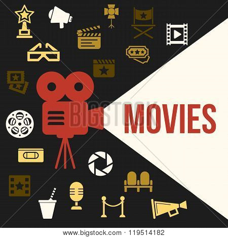 Cinema Retro Video Projector with Spotlight. Film Projector Highlights Word Movies. Template vector concept with cinema icons.