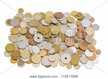 Coins From Various Countries In Circulation At Different Times