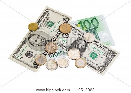 Several Banknotes And Coins Of Euro And American Dollars