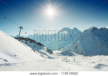Ski Slope And Cable Car On The Ski Resort Elbrus. Caucasus, Russian Federation.