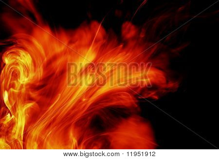 fiery background isolated on black
