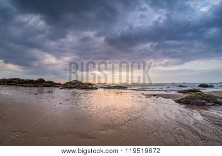 SUnset at Khao Lak beach in Thailand