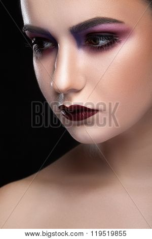 Woman With Fashion Make Up And Pale Skin
