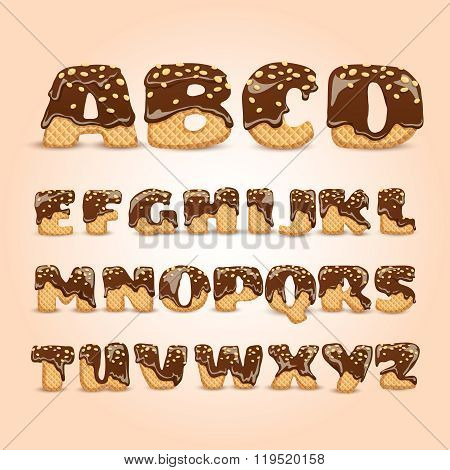 Frosted Chocolate Wafers Alphabet Letters Set