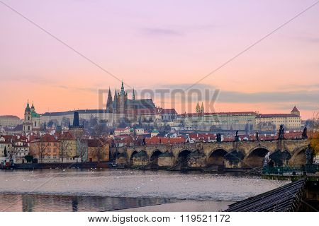 Citiscape View Of Prague Castle And Charles Bridge At Sunrise