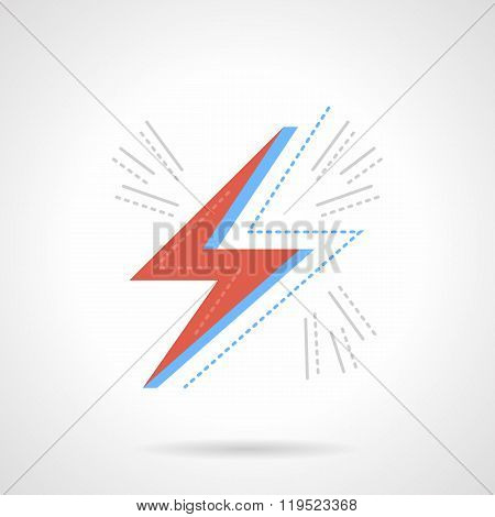 Red lightning flat color design vector icon