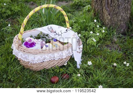 Easter. Easter basket with food.