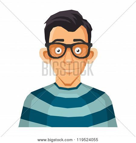 Computer Geek Face in Glasses. Vector