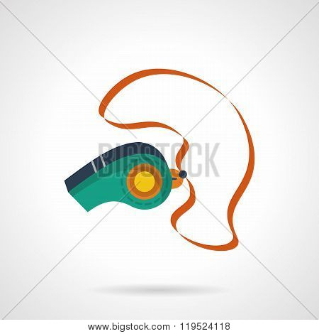 Colorful sport whistle flat vector icon