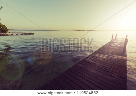 Wooden boardwalk on the beach