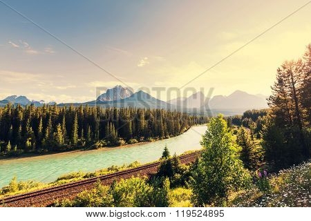 View over a river through the Rocky Mountains, Banff, Canada