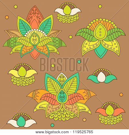 Beautiful lotus. Ornament Vector yoga. Hand drawn element. Picture for design. Kaleidoscope.