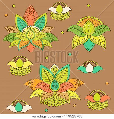 Beautiful Lotus: Ornament Vector Yoga. Hand Drawn Element. Flower Ornament Vector. Flower Ornament For Spring. Flower Ornament Set. Picture For Design, Kaleidoscope, Medallion. Vector Flower Lotus.