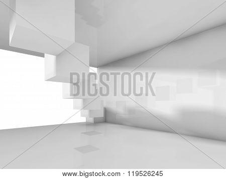 Empty White Modern Architecture Background, 3D
