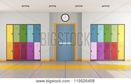 School Hallway With Student Lockers