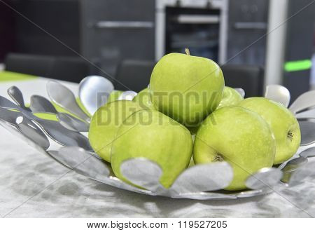 Collection Of Green Apples In A Bowl
