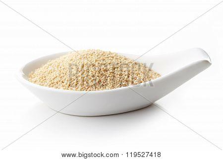 Amarath Seeds In White Porcelain Spoon