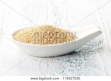 Amaranth Seeds In Porcelain Spoon