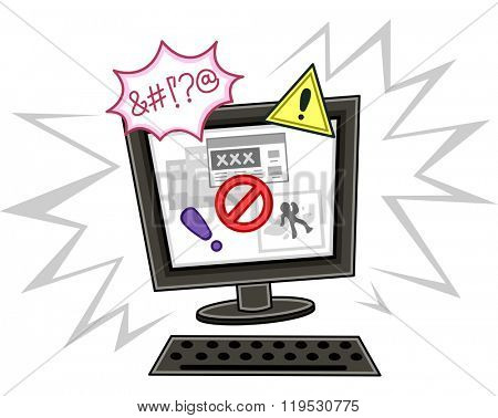 Illustration of a Computer Showing an Internet Safety Notice