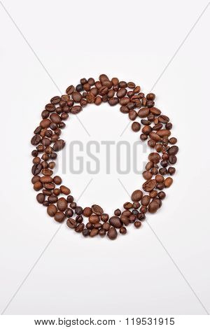 Zero From Coffee Beans Isolated On White Background. Love Coffee. Morning Pleasure