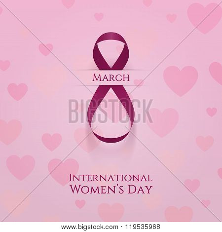 March 8 Holiday Background. Greeting Pink Ribbon