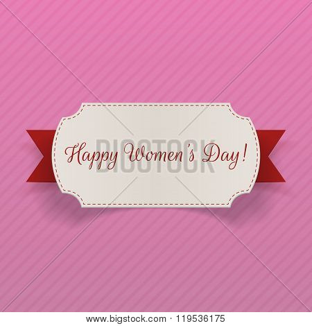 Womens Day March 8 greeting Card with Ribbon