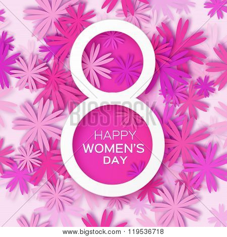 Abstract Purple Floral Greeting card - International Happy Women's Day - 8 March holiday background