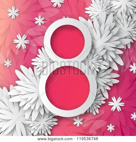 Abstract Pink White Floral Greeting card - International Happy Women's Day - 8 March holiday backgro