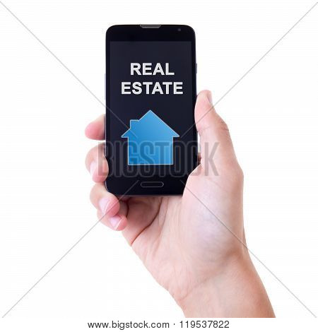 Hand Holding Mobile Smart Phone With Real Estate Application Isolated On White